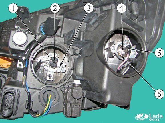 Как заменить лампочки в фаре Lada Xray