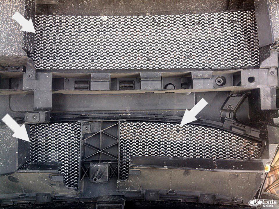 Защита радиатора или установка сетки в решетку бампера Lada XRAY