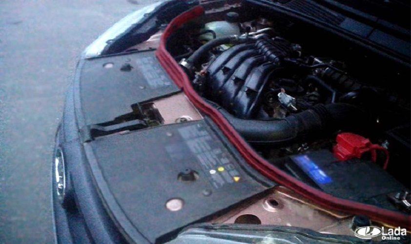 Установка дополнительного уплотнителя в моторный отсек Lada XRAY